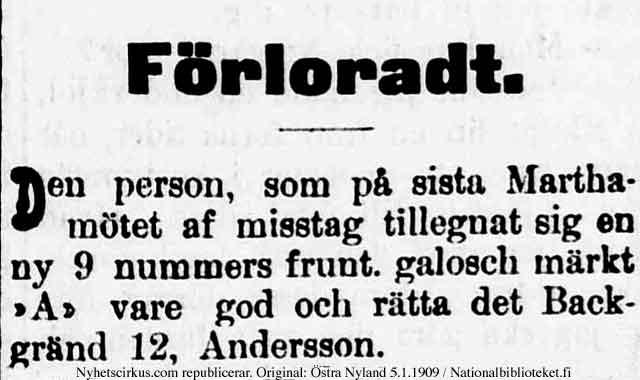 förloradt annons i Östra Finland den 5 jan 1909