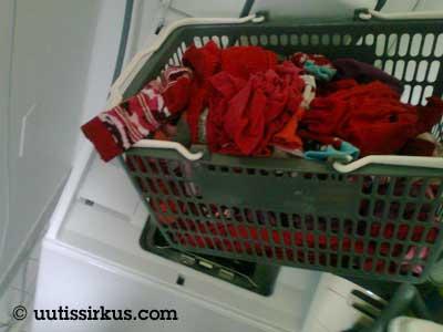 Pyykkikori ja pesukone