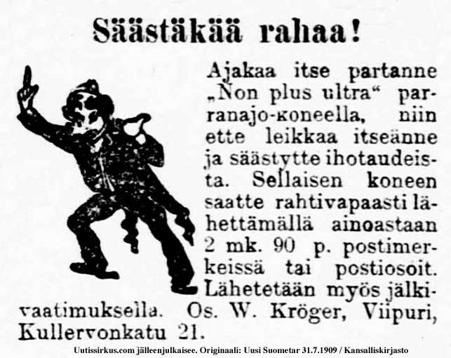 Säästäkää rahaa ajamalla itse partanne, ilmoitus vuodelta 1909