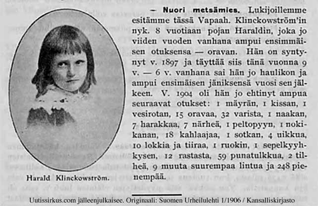 Harald Klinkowström ampui jo viisivuotiaana oravan