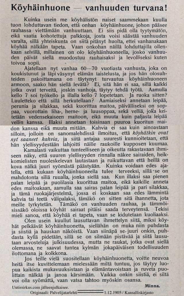 Köyhäinhuone - vanhuuden turvana, kirjoittaa ironisesti Minna Canth Palvelijatarlehdessä vuonna 1905