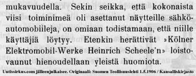 Sähköautomobiileja on Berlliinin automobiilinäyttelyssä esillä useilta valmistajilta vuonna 1906
