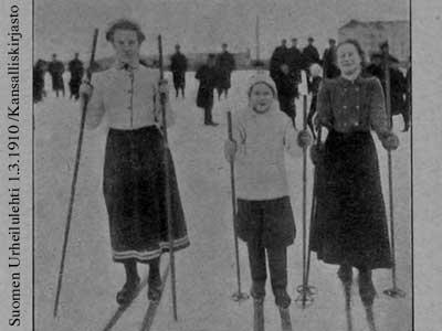 Helmi Kotiranta, Helena Tietäväinen ja Alma Nappalin saavuttivat 1., 2. ja 3. palkinnon Viipurin kansainvälisissä talviurheilukisoissa