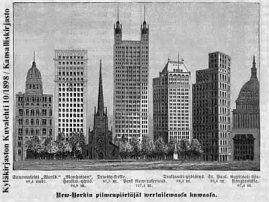 New Yorkin pilvenpiirtäjiä Kyläkirjaston Kuvalehdessä vuonna 1898