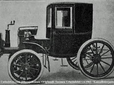umpikuomuinen sähköautomobiili, kuva julkaistu Suomen Urheilulehdessä 1.6.1902