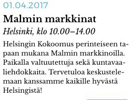 Kokoomus on Malmin markkinoilla