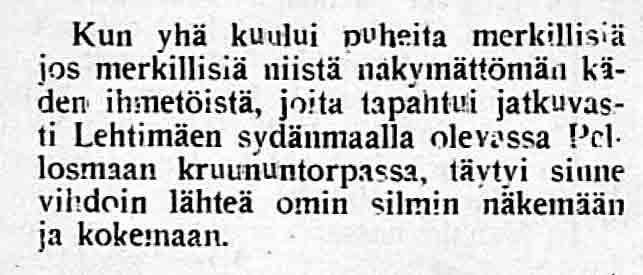 Kummituksia Lehtimäellä, kertoo Ilkka 1.3.1917