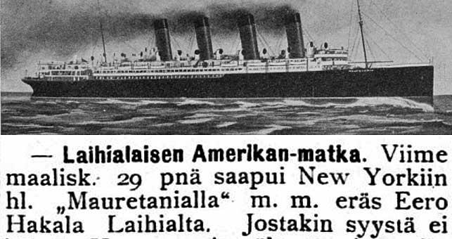 Mauretania-laivan kuva ja juttu laihialaisen Eero Hakalan Amerikan-matkasta
