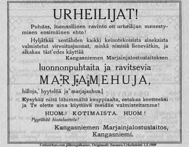 juokaa Kangasniemen marjamehua, kehottaa Suoemn Urheilulehdessä julkaistu mainos vuonna 1909
