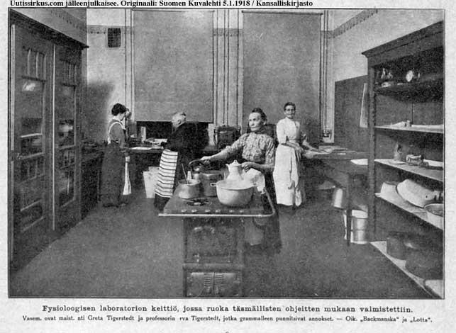 jäkäläruokaa valmistamassa mm. maisteri Greta Tigerstedt ja professorin rouva Tigerstedt