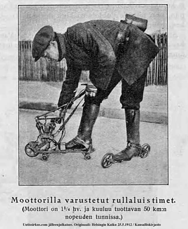 miehellä jalassaan rullaluistimet, joissa polttomoottori