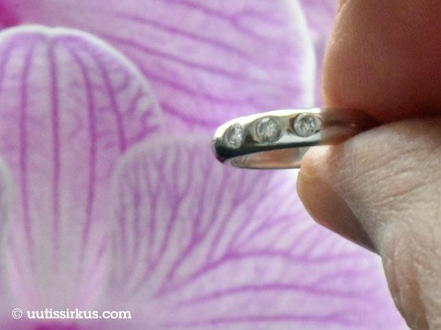 Timanttisormus miehen sormien välissä, takana vaaleanpunainen orkidea