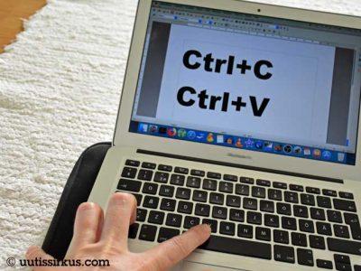 läppärin ruudulla näkyy teksti Ctrl+C Ctrl+V
