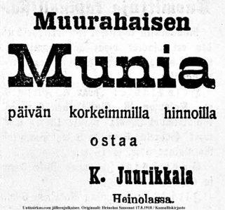 Muurahaisen munia päivän korkeimmilla hinnoilla ostaa K. Juurikkala Heinolassa (ilmoitus Heinolan Sanomissa 17.8.1918