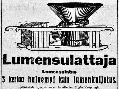 Lumensulatus on kolme kertaa halvempaa kuin lumnekuljetus, kertoo uusi Päivä -lehden ilmoitus vuonna 1918