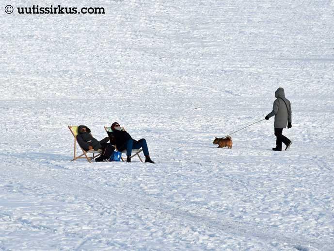 kaksi ihmistä nautiskelee lepotuoleissaan toppatakit yllään meren jäällä, koiranulkoiluttaja menee ohitse