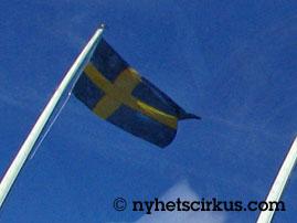 Ruotsin lippu liehuu