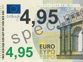 seteli, arvoltaan 4,95 euroa
