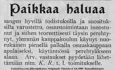 Osuustoimintaan perehtynyt nuorukainen haluaa töitä, ilmoitus Yhteishyvä-lehdessä vuonna 1909