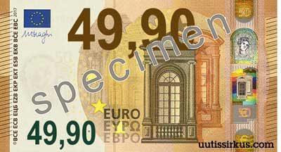 50 euron seteliä muistuttuva seteli, jonka arvo on 49,90