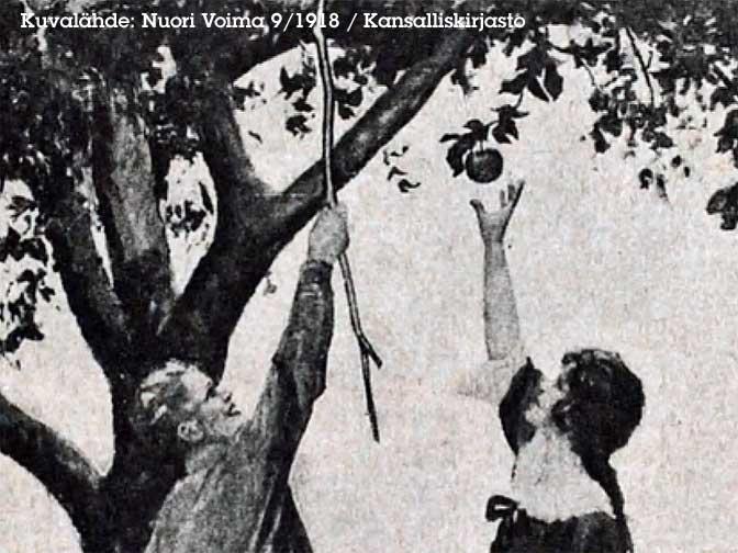 mies ja nainen tavoittelevat omenaa puusta, naisella keppi kädessään