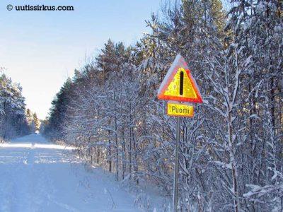 luminen metsätie, jonka varressa puomista varoittava liikennemerkki