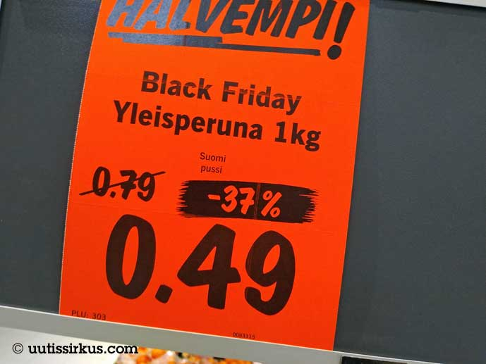 mainoskyltti Black Friday yleisperuna –37% 0,49 1 kh pussi
