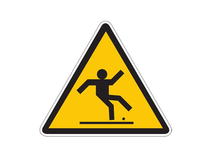 jalankulkijan liukkausvaroitus-merkki, jalan lähellä hillosipulin oloinen pallo